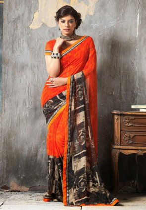 Diffusion Fascinating Coral And Orange Embroidered Saree
