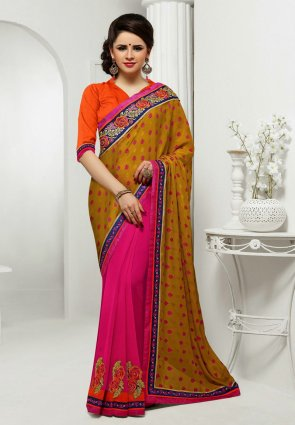 Diffusion Fascinating Orange And Pink Embroidered Saree