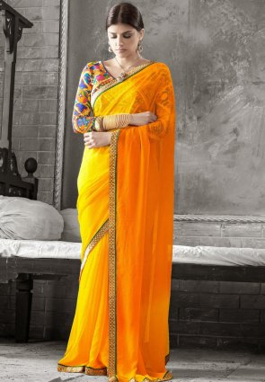 Diffusion Fascinating Orange And Yellow Embroidered Saree