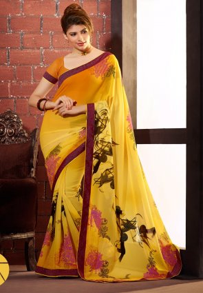 Diffusion Fascinating Orange And Yellow Printed Saree