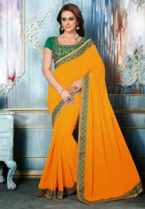 Diffusion Fascinating Pale Orange Embroidered Saree