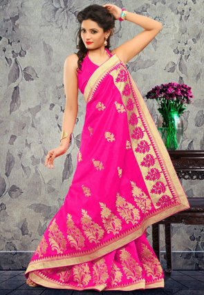Diffusion Fascinating Pink Embroidered Saree