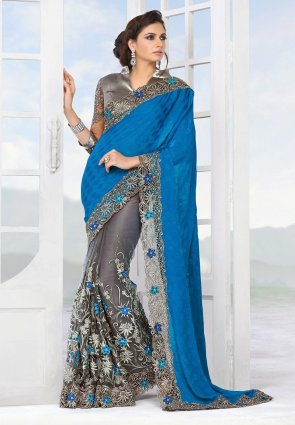 Diffusion Flamboyant Azure Blue And Gray Embroidered Saree
