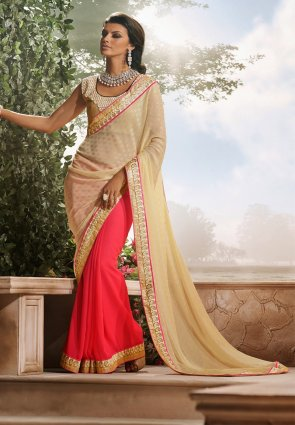 Diffusion Flamboyant Beige And Deep Scarlet Red Embroidered Saree