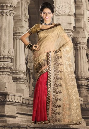 Diffusion Flamboyant Beige And Red Embroidered Saree