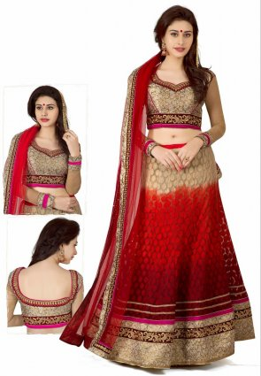 Diffusion Flamboyant Beige And Red Lehenga Choli