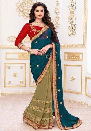 Diffusion Flamboyant Beige And Steel Blue Embroidered Saree