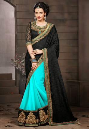 Diffusion Flamboyant Black And Cyan Blue Embroidered Saree