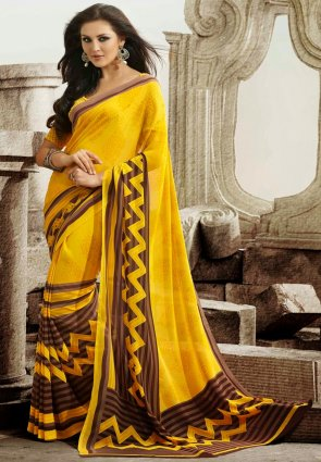 Diffusion Flamboyant Brown And Yellow Printed Saree