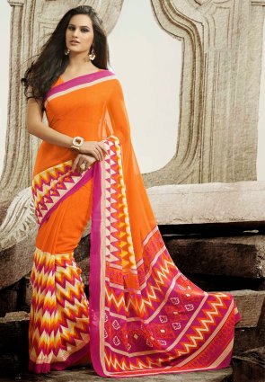 Diffusion Flamboyant Deep Orange And Magenta Printed Saree