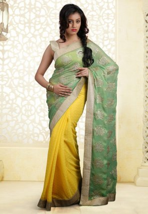 Diffusion Flamboyant Mint Green And Yellow Embroidered Saree