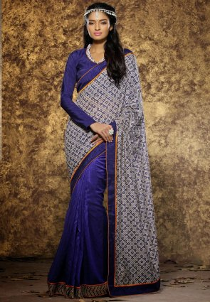 Diffusion Flamboyant Navy Blue And Off White Embroidered Saree