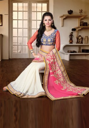 Diffusion Flamboyant Off White And Pink Embroidered Saree