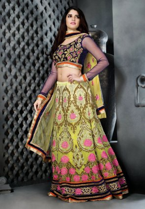 Diffusion Flamboyant Olive Green And Yellow Lehenga Choli