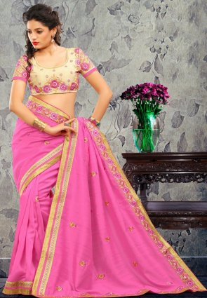 Diffusion Flamboyant Pink Embroidered Saree