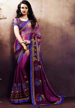 Diffusion Flamboyant Violet Embroidered Saree