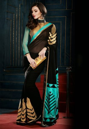 Diffusion Glamorous Black Embroidered Saree