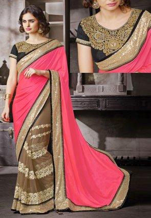 Diffusion Glamorous Brown  And  Fuchsia Embroidered Saree