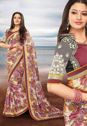 Diffusion Glamorous Buttercream Embroidered Saree