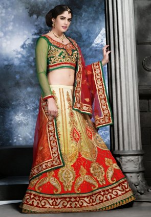 Diffusion Glamorous Cream And Pale Mint Green Lehenga Choli