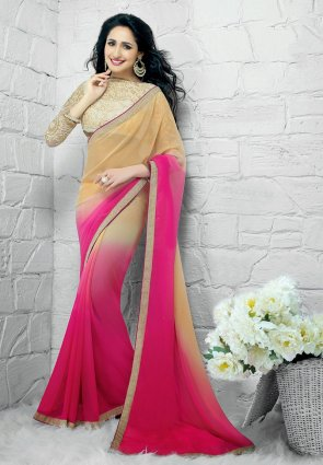 Diffusion Glamorous Cream And Pink Embroidered Saree