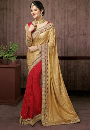 Diffusion Glamorous Cream And Red Embroidered Saree