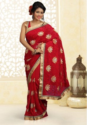 Diffusion Glamorous Crimson Embroidered Saree