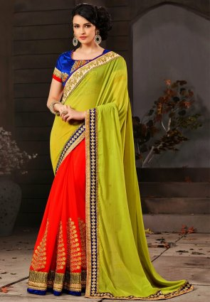 Diffusion Glamorous Deep Coral And Lime Green Embroidered Saree