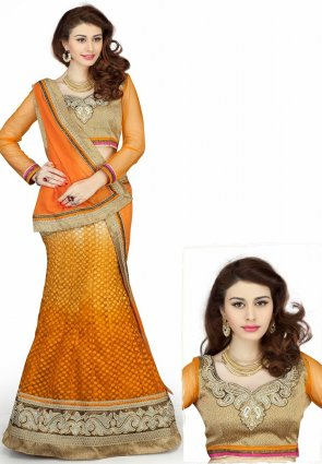 Diffusion Glamorous Gold Color And Orange Lehenga Choli
