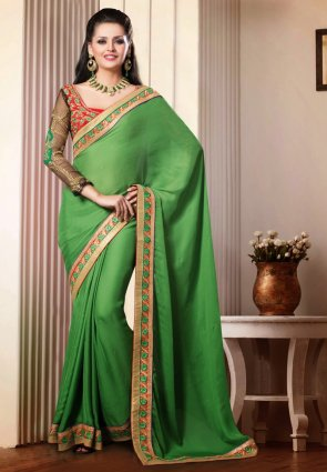 Diffusion Glamorous Green Embroidered Saree