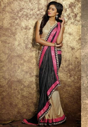Diffusion Gleaming Beige And Black Embroidered Saree
