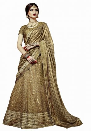 Diffusion Gleaming Beige And Brown Lehenga Choli