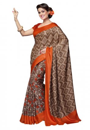 Diffusion Gleaming Beige And Choclate Printed Saree