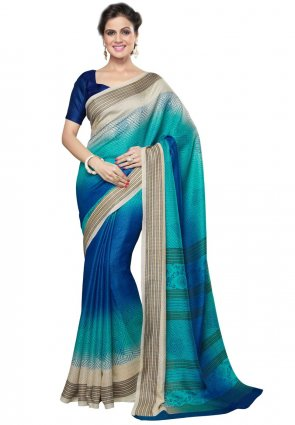 Diffusion Gleaming Beige And Cyan Blue Printed Saree