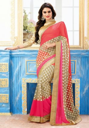 Diffusion Gleaming Beige And Red Embroidered Saree