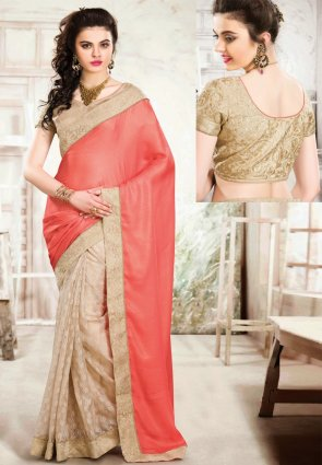 Diffusion Gleaming Beige And Tomato Embroidered Saree