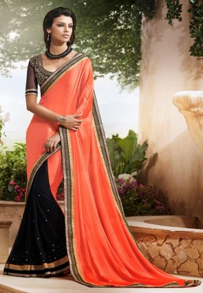 Diffusion Gleaming Black And Tomato Embroidered Saree