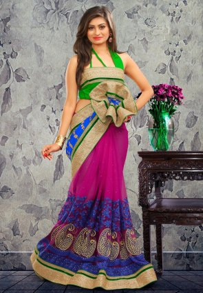 Diffusion Gleaming Blue And  Magenta Embroidered Saree