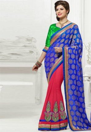 Diffusion Gleaming Blue And Fuchsia Embroidered Saree