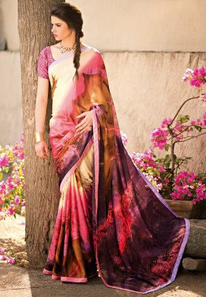 Diffusion Gleaming Brown And Violet Printed Saree