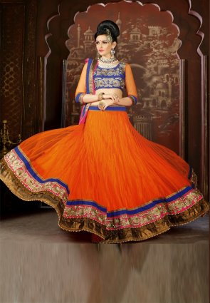 Diffusion Gleaming Deep Orange Lehenga Choli
