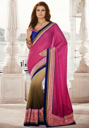 Diffusion Gleaming Deep Pink  And  Brown Embroidered Saree
