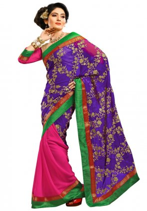 Diffusion Gleaming Deep Purple And Pink Embroidered Saree