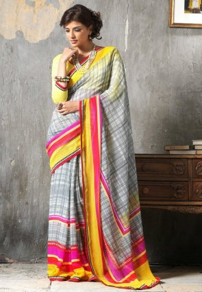 Diffusion Gleaming Gray Embroidered Saree
