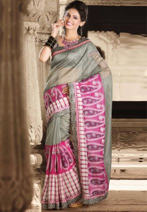 Diffusion Gleaming Gray And Magenta Embroidered Saree