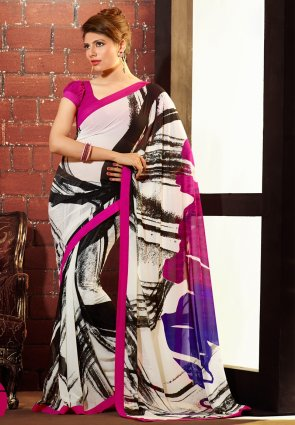 Diffusion Gleaming Off White Printed Saree