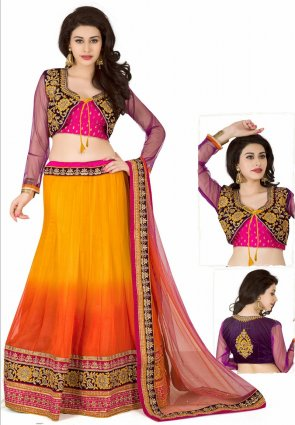 Diffusion Gleaming Orange And Yellow Lehenga Choli