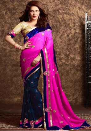 Diffusion Gleaming Pink And Royal Blue Embroidered Saree
