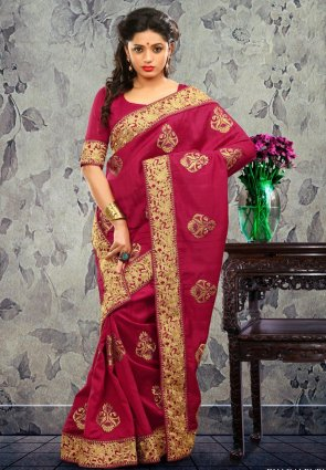 Diffusion Gleaming Wine Embroidered Saree
