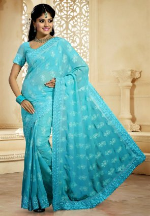 Diffusion Gorgeous Aqua Blue Embroidered Saree